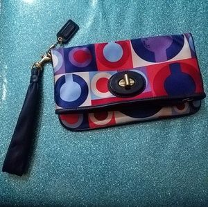 Coach Satin Op Art Resort Wristlet